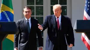 Donald Trump bittet Jair Bolsonaro zur gemeinsamen Pressekonferenz im Rosengarten des Weißen Hauses