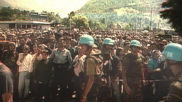 Niederländische Blauhelmsoldaten in Srebrenica