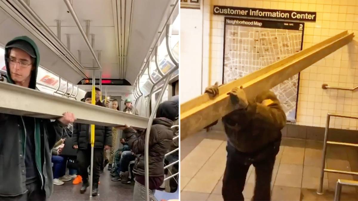 New Yorker Metro: Mann transportiert Stahlträger in der U-Bahn – und bekommt sogar Hilfe