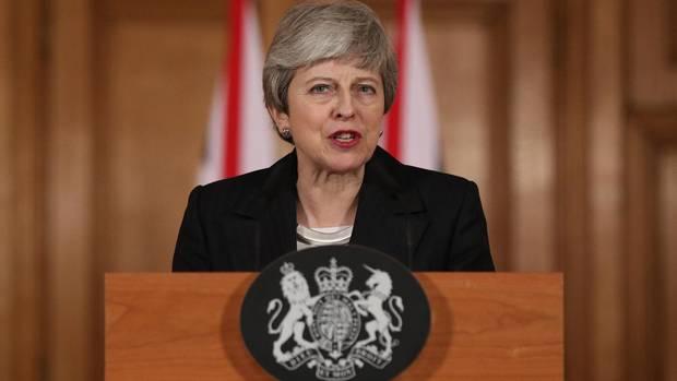 Theresa May hinter dem Rednerpult bei ihrer Brexit-Rede Mitte März 2019