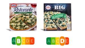 Hätten Sie das gedacht? Die Ristorante-Pizza von Dr. Oetker schlägt das Wagner-Modell im Nutri-Score um Längen, dabei sehen die Pizzen auf dem Bild doch recht ähnlich aus.