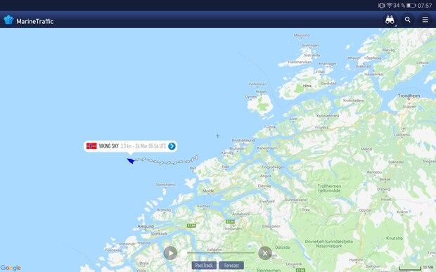 """Die Lage der """"Viking Sky"""" am Sonntagmorgen vor der westnorwegischen Küste"""