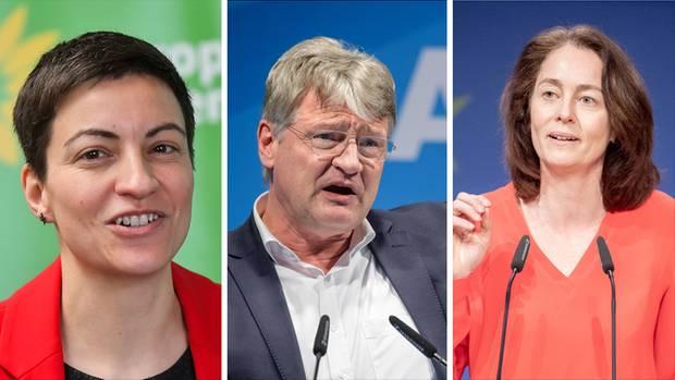 """""""Ska"""" Keller (l.) will für die Grünen ins EU-Parlament, Jörg Meuthen (M.) für die AfD und Katarina Barley (r.) für die SPD"""