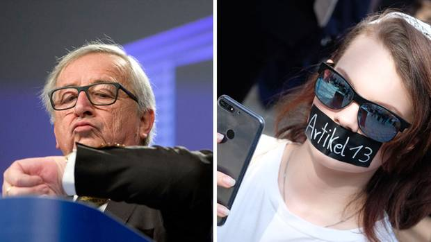 Links EU-Kommissionschef Jean-Claude Juncker und rechts eine Demonstrantin gegen Artikel 13 der Urheberrechtsreform