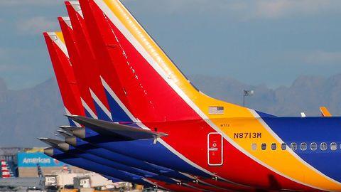 Geparkte Boeing 737 MAX von Southwest Airlines
