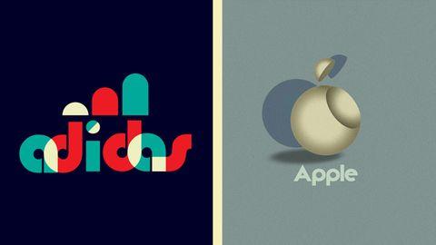 """Das Gewinnerdesign von User """"Jaseng99"""" ist eine neue Interpretation des """"Adidas""""-Logos. Aber auch der bekannte Apfel von Apple lässt sich im Bauhaus-Design umstylen."""