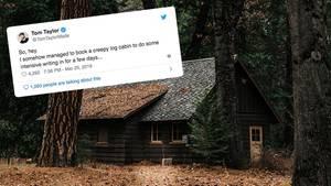 Twitter-Thread: Autor mietet gruselige Holzhütte und erlebt einen Horrorfilm