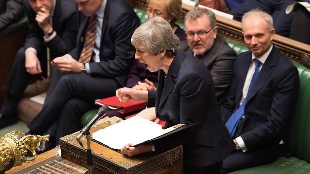 Theresa May während der Abstimmungim britischen Parlament
