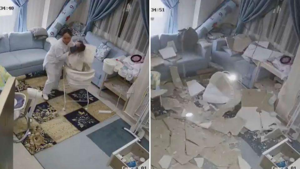 Dienstmädchen rettet Baby vor herabstürzender Decke