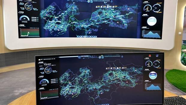 Der Bildschirm zeigt die Datenströme einer voll mit Funktechnik versorgten Metropole