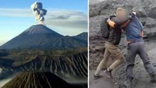 Auf Java hat ein deutscher Tourist einen Wachmann niedergeprügelt, um zu einem aktiven Vulkan zu gelangen.