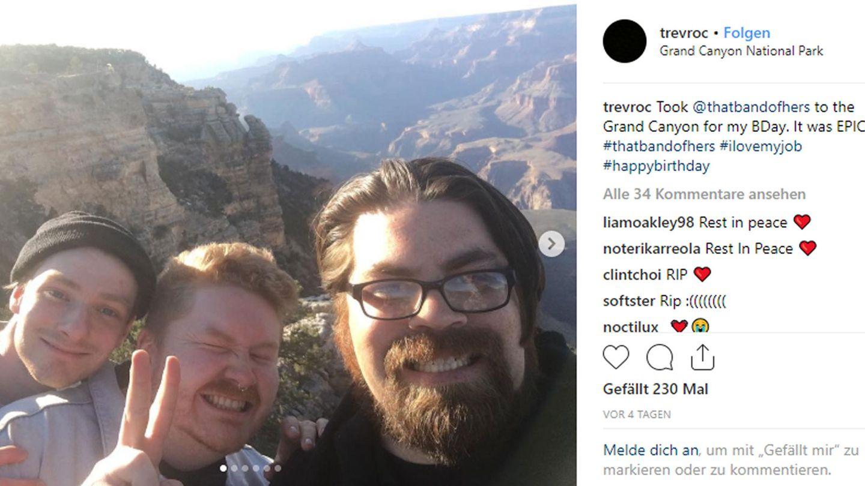 Kurz vor dem Unfall feierte die Band noch den Geburtstag ihres Tourmanagers am Grand Canyon