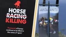 Ein Protestschild vor dem Santa Anita Park