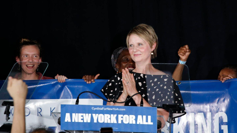 Cynthia Nixon auf einer Wahlkampfveranstaltung