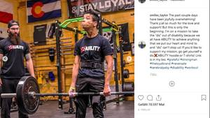 Kraftsportler Miles Talor, der unterInfantiler Zerebralparese leidet