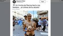 Fan von Racing Club mit dem Schädel seines Großvaters