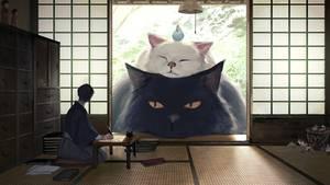 Zwei überdimensionale Katzen schauen durch japanische Schiebetüren