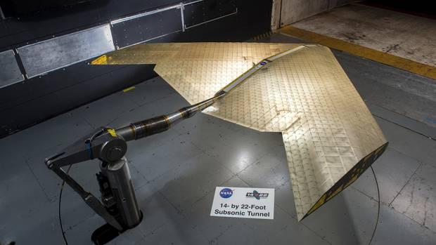 Im Lufttunnel der Nasa konnte sich das neue Flügel_Material bereits beweisen.