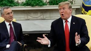 US-Präsident Donald Trump bei seinem Treffen mit Nato-Generalsekretär Jens Stoltenberg im Weißen Haus