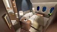 """Kategorie: Visionäre Konzepte  Die """"Peacock Suites""""von Paperclip Design sind für den vordersten Kabinenteil gedacht: In der First Class kann die Kabine je nach Bedarf in ein Familienabteil mit Hochbett oder auch in eineDrei-Zimmer-Luxussuite verwandelt werden."""