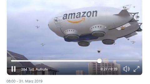 """Ein Amazon-Luftschiff, aus dem Lieferdrohnen steigen – zu """"grenzwertig"""", um wahr zu sein"""