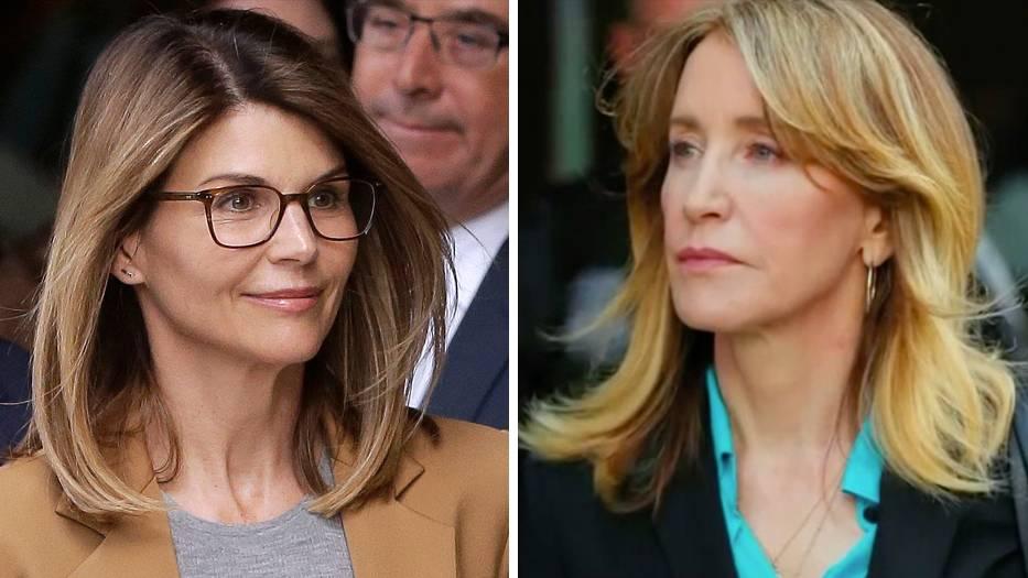 Lori Loughlin undFelicity Huffmanverlassen das Bundesgericht in Boston, wo sie sich der Anklage in einem landesweiten Bestechungsskandal gestellt haben.