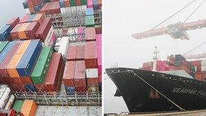 Containerschiff, welches nach Singapur fährt