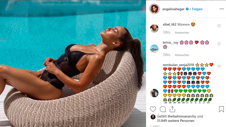 Angelina Heger freizügig am Pool