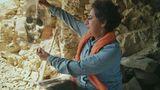 Professor Salima Ikram mit der Grafik eines Schädels.