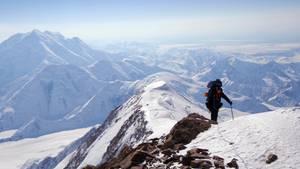 Bergsteiger am Mount Denali - früher bekannt als MountMcKinley