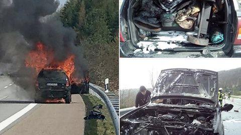 Lebensretter gesucht : Ihr Auto ging auf der Autobahn in Flammen auf – jetzt sucht die Frau den Lebensretter