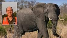 Ein Elefant in Afrika und Afrika Referent des WWF Johannes Kirchgatter