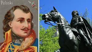 KriegsheldKazimierz Pulaski in einer Zeichnung aus dem 18.Jahrhundert und sein Denkmal in den USA