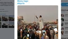 Alaa Salah bei Protesten im Sudan