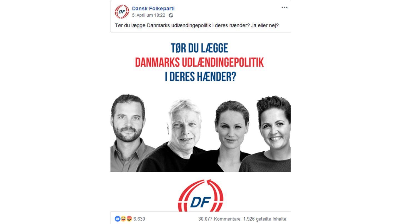 Der Post der Dänischen Volkspartei bei Facebook