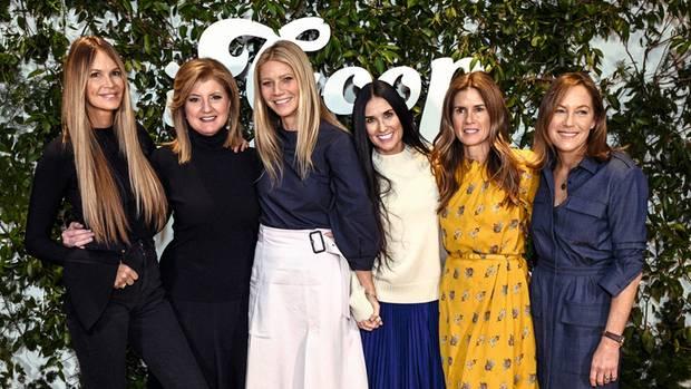 """Total gut drauf: Im Januar traf sich Paltrow mit dem Model Elle McPherson (l.), der Medien-Frau Arianna Huffington, der Schauspielerin Demi Moore, der Visagistin Gucci Westman und der Unternehmerin Gregg Renfrew zum """"Goop""""-Gesundheits-Gipfel in New York"""