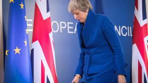 Die britische Premierministerin Theresa May nach einem EU-Gipfel zum Brexit