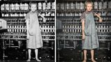 Ein junges Mädchen, barfuß an einer Maschine