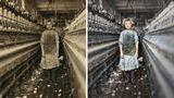 Ein Mädchen steht in einem Gang zwischen Baumwollspindeln