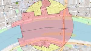 Eine Karte von Frankfurt zeigt den Sperrbezirk an beiden Ufern des Mains