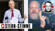 Julian Assange kurz nach seiner Ankunft in der ecuadorianischen Botschaft 2012 (l.) und nach seiner Festnahme am Donnerstag