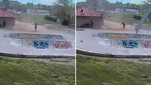 Staubteufel trifft Skateboarder im kalifornischen Park