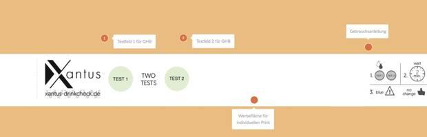 Es gibt zwei Punkte für jeweils einen Test für K.o.-Tropfen sowie eine kleine Anleitung