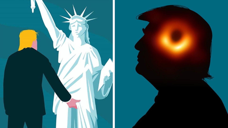 Das linke Bild von Illustrator Lennart Gäbel geht seit 2016 um die Welt, das rechte erdachte er unter der Woche
