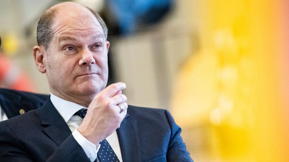 Olaf Scholz (SPD), Bundesfinanzminister, bei einer Pressekonferenz