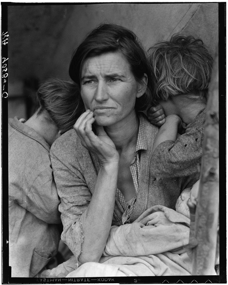 Migrant Mother vonDorothea Lange zeigt das Elend der heimatlosen Farmer, die von der Dürre vertrieben worden waren.