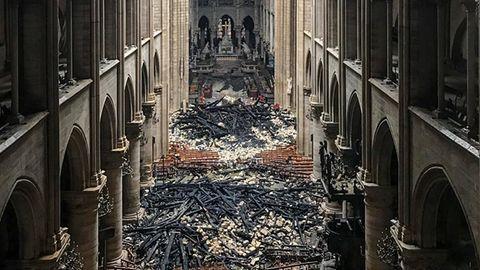 Das Innere von Notre-Dame nach dem Brand