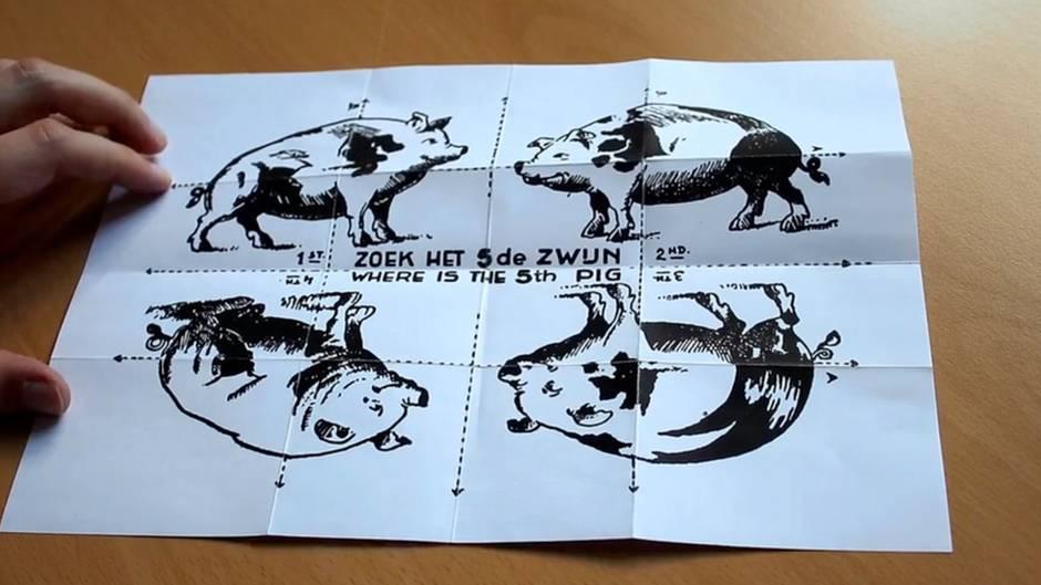 """Fundstück begeistert Twitter: """"Das fünfte Schwein"""": Mit diesem geheimnisvollen Faltblatt verspotteten die Alliierten Hitler"""