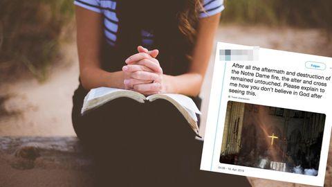 Eine Frau vermutet auf Twitter, Gott hätte das Kreuz in Notre Dame verschont