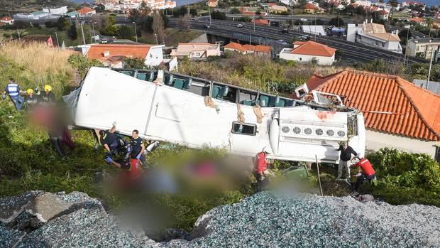 Der verunglückte Bus auf Madeira